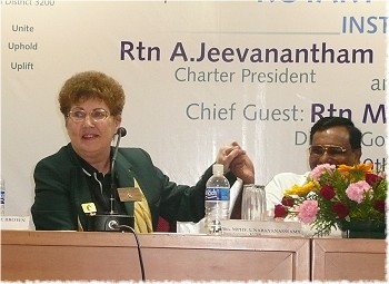 Rotary District Governor Marlene Brown invited to take part with Rotary District Governor L. Narayanaswamy in the CHarter Celebration of the Galaxy RC in India