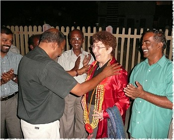 DG Marlene greeted in Tirupur, India by Thamby, Maddy, Rtn. Chidambaram, Rtn. Mani, Rtn. Subramaniam, and the Tirupur North Rotary Club