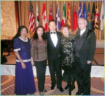 Rotary eClub NY1 members Rahma Mustapha, Ana Maria Johnsen, PDG Marlene Brown & Earl Lewis with R. I. President D. K. Lee