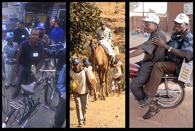By motorcycles, camels, or bicycles, Rotarians help transport the polio vaccine to every corner of the world.